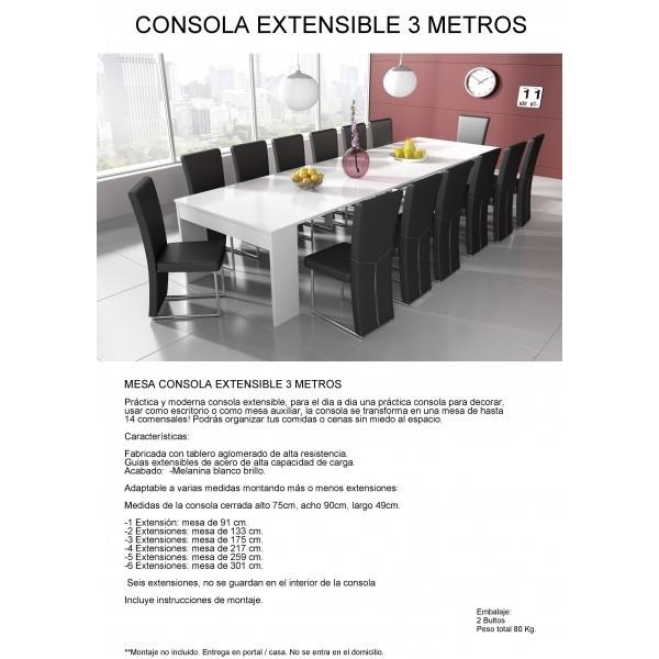 Mesa consola extensible 3 metros for Mesa 2 metros comensales