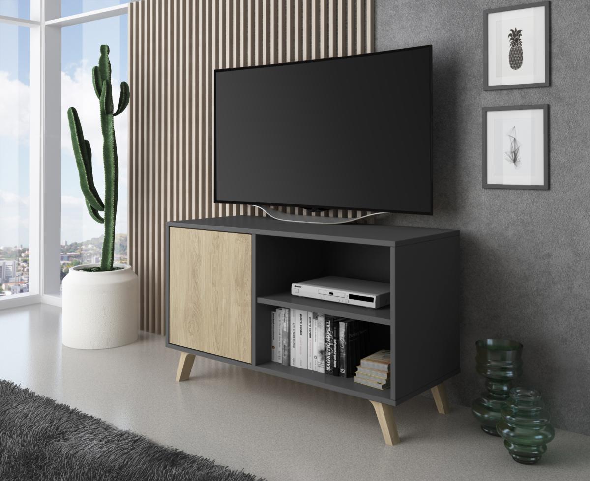 Mueble Tv Wind 100 Cm Color Gris Antracita Puccini