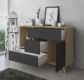 Buffet wind 120 cm Color puccini / gris antracita