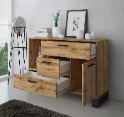 Buffet madera Loft color roble oscuro/negro